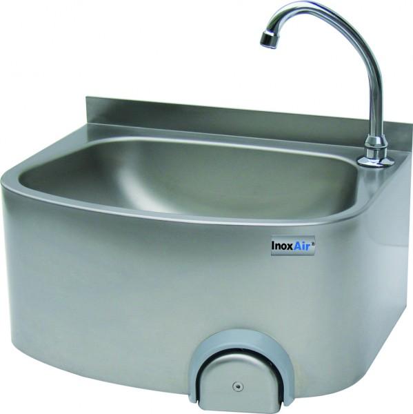 Handwaschbecken mit einem eckigen Becken, mit Knie-oder Handbetätigung