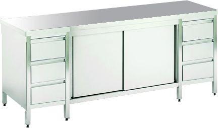 Arbeitsschrank ohne Platte mit 2 Schubladenblöcken, mit Türen, mit einer Tiefe von 560mm