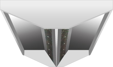 VDI-Deckenhaube, V-Form mit einer Tiefe von 1300 mm, mit Filter Typ A