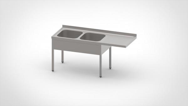 Spülcenter ohne Grundboden mit einer Tiefe von 700mm, mit zwei Becken und einer Abtropffläche