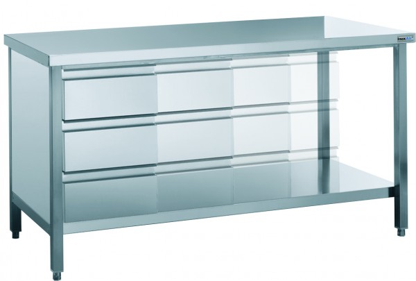 Arbeitstisch mit Schubladenblock, mit einer Tiefe von 600mm