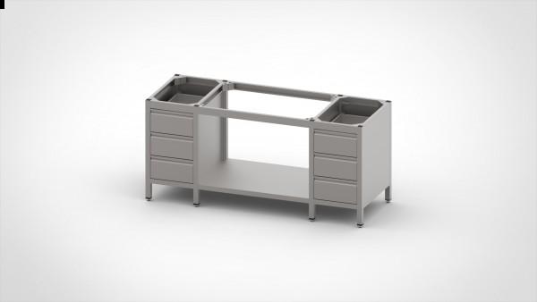 Tisch ohne Platte mit 2 Schubladenblock, mit einer Tiefe von 560mm