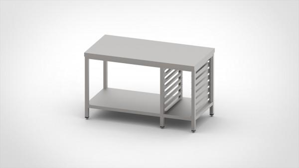 Arbeitstisch mit Auflagegestell für 6xGN 1/1, mit einer Tiefe von 600mm