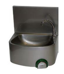 Handwaschbecken mit einem eckigen Becken und einer rückseitig erhöhten Aufkantung, mit Knie-oder Han