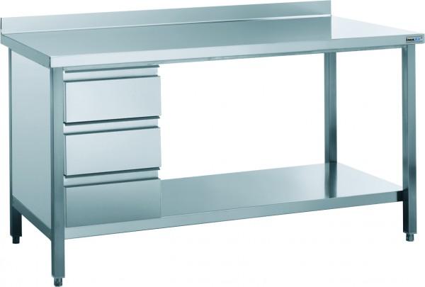 Arbeitstisch mit Aufkantung und Schubladenblock, mit einer Tiefe von 600mm