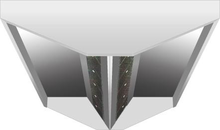 VDI-Deckenhaube, Schräg-V-Form mit einer Tiefe von 1300 mm