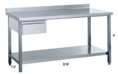 Arbeitstisch mit Aufkantung und Schublade, mit einer Tiefe von 700mm
