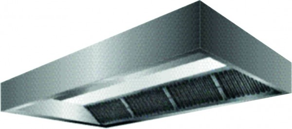VDI-Deckenhaube, Kastenform mit einer Tiefe von 2000 mm, Filterreihe vorne