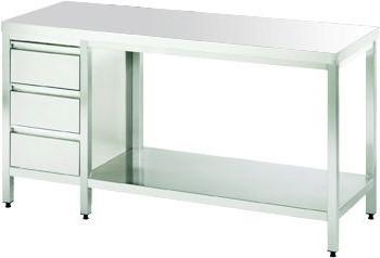 """Tisch ohne Platte mit Schubladenblock, """"links"""" mit einer Tiefe von 560mm"""