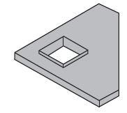 Zusätzlich zum Möbel: Eckiger Ausschnitt in einer Tischplatte, mit Aufkantung