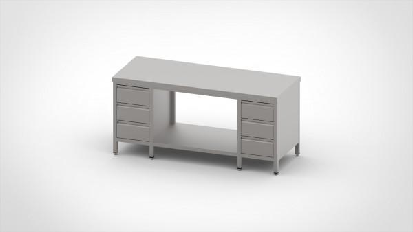 Arbeitstisch mit 2 Schubladenblöcken, mit einer Tiefe von 600mm