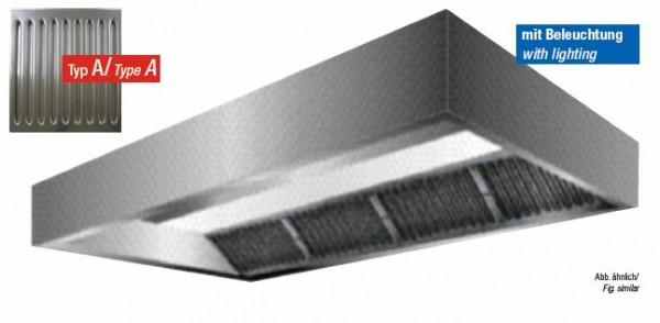 VDI-Deckenhaube, Kastenform mit einer Tiefe von 1500 mm, Filterreihe vorne, mit Filter Typ A
