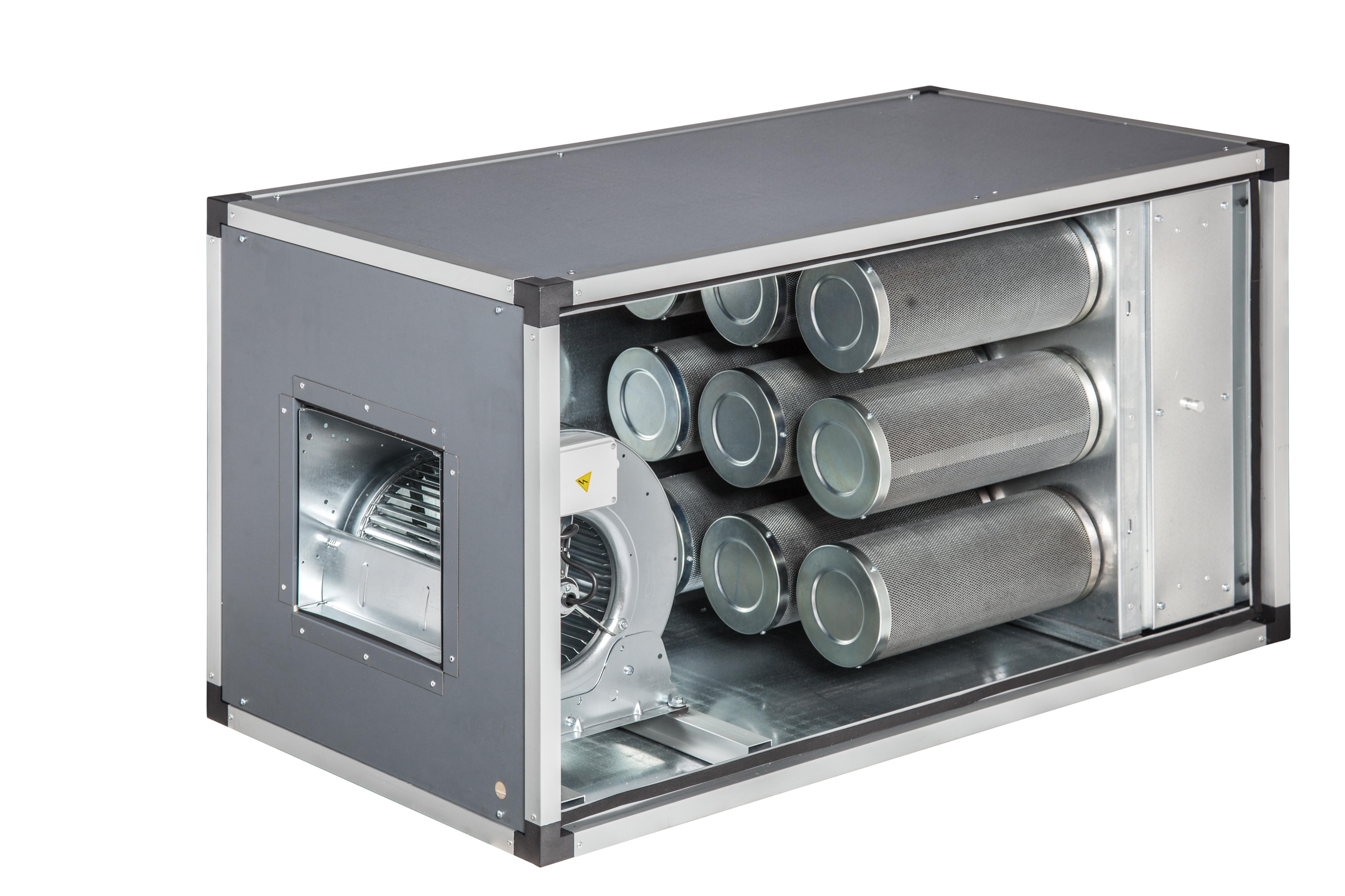Abluftreinigungsanlage mit aktivkohlefilter mit motor doppelwandig