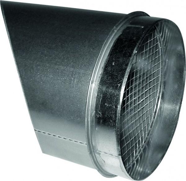 Ausblasstutzen 45° mit Schutzgitter für doppelwandiges Rohr Ø 250mm
