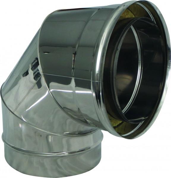 Bogen 90° mit Reinigung für doppelwandiges Rohr Ø 130mm